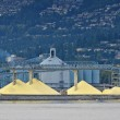 Stock Photo: Yellow mountains of sulfur to be shipped out of Vancouver port (