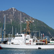 Stock Photo: Seward Alask- July 2011 - US Coast Guard vessel in harbor.