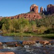 Stock Photo: Cathedral Rock as seen from Oak Creek Crossing in Sedona.
