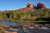 Cathedral Rock as seen from Oak Creek Crossing in Sedona. — Stock Photo