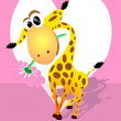 Giraffe with a flower on a background of heart — Stock Vector