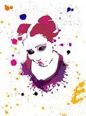 Девушка в пятна краски — Cтоковый вектор