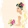 Stock Vector: Bride with bouquet of flowers