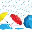 Umbrellas in the Rain — Stock Vector