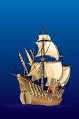 Caravel sailing ship — Stock Vector
