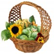Stock Photo: Basket with brussels cabbage