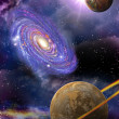 Galaxies and planets in space — Stock Photo