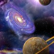 Galaxies and planets in space - Stock Photo