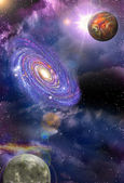 Galaxies and planets — Stock Photo