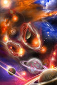 Nebulae and planets in space — Stock Photo