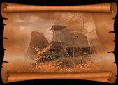 Nevytskyi Castle on old paper — Stock Photo