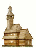 Wooden church, illustration — Stok fotoğraf