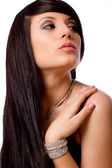 Beautiful fashion model portrait with jewelry — Stock Photo