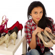 Young woman and shoes, shoe shopping — Stock Photo