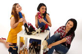 Young women and shoes, shoe shopping — Stock Photo
