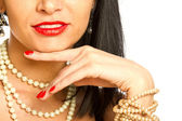 Fashion model portrait with jewelry — Stock Photo