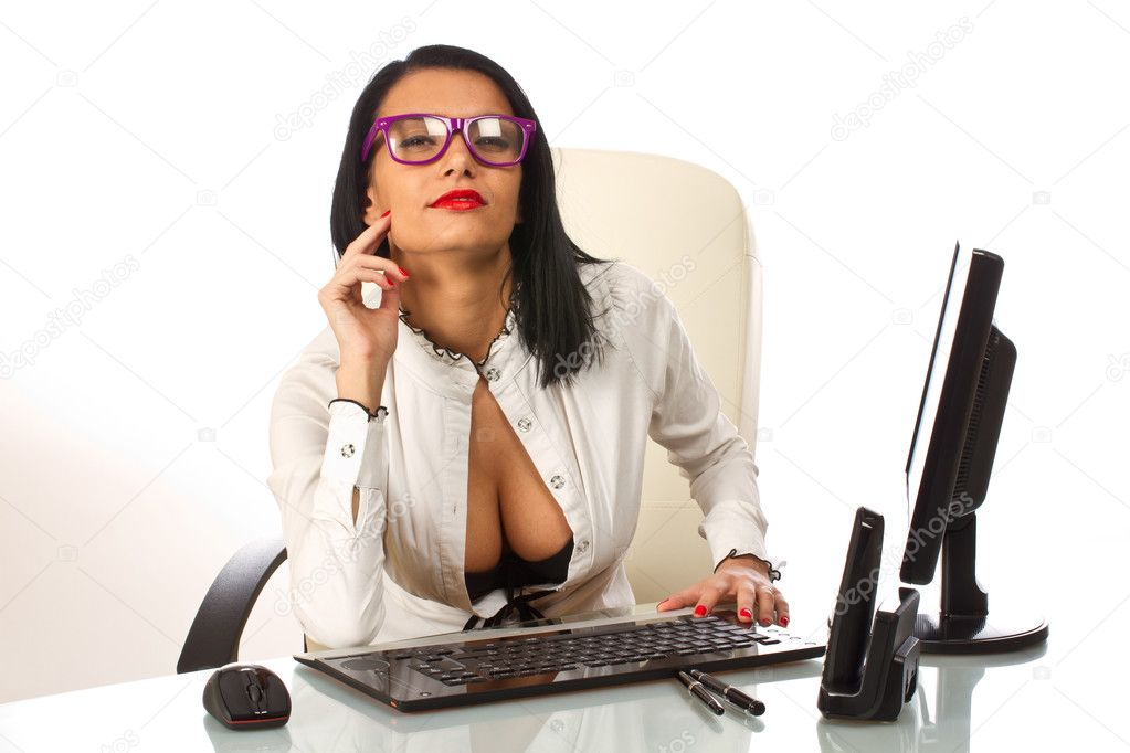 depositphotos 8992662 Sexy secretary at work at her office desk sexy mature woman