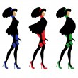 Vector set of isolated silhouettes of fashion women — Stock Vector