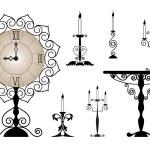 Set of interior ancient elements — Stock Vector