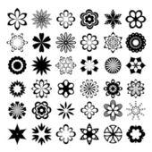 Uppsättning av grafisk vector blommor — Stockvektor