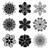 Ensemble de fleurs graphiques — Vecteur
