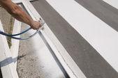 Crosswalk repairing — Stock Photo