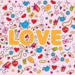 Valentine doodles set — Stock Vector