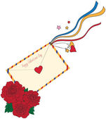 Valentine's Day Envelope with roses and ribbons — Stock Vector
