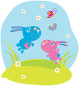 Two rabbits are catching butterflies — Stock Vector