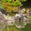 Heron in Japanese garden — Stock Photo