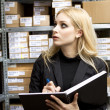 Sexy young woman doing inventory — Stock Photo