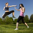 Karate fight between young girls — Stock Photo