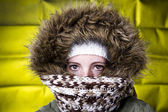 Woman in winter clothing — Stok fotoğraf