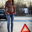 Woman with broken car — Stock Photo