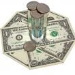 Stock Photo: Hourglass and Money