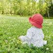 Baby girl sitting in meadow — Stockfoto