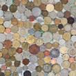 Foto de Stock  : Background of different coins and notes