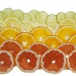 Background with citrus-fruit of  grapefruit, orange, lemon and l — Foto Stock
