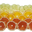 Background with citrus-fruit of  grapefruit, orange, lemon and l — ストック写真
