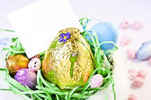Easter Basket with Blank Card — Stock Photo