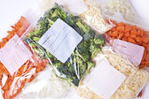 Chopped Vegetables and Cheese in Freezer Bags — Stock Photo