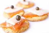 Close-up of Salmon Canapes — Stock Photo
