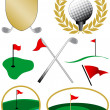 Stock Vector: Eight Color Golf Icons