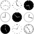 Nine Clock Faces and Hands - Stock Vector