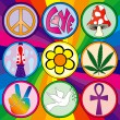 Nine 60s icons on rainbow background — ストックベクター #8995546
