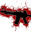 Stock Vector: Assault Rifle with Blood Stains