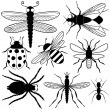 Stock Vector: Eight Insect Silhouettes