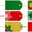 Nine Christmas Tags — Stock Vector
