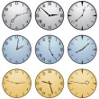 Stock Vector: Fifteen Different Clock Faces