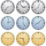 Fifteen Different Clock Faces — Stock Vector